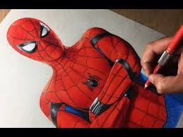 drawing spiderman homeing marvel
