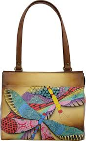 anna by chka hand painted leather medium shoulder bag 8360 women s