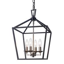 lacey 4 light black and brushed nickel pendant