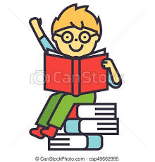smiling kid sitting on pile of books reading opened textbook concept line vector icon editable