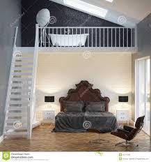 Loft Bedroom Loft Bedroom Vintage Interior With Brick Wall And Bathtub Stock