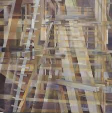 nancy newman rice abstract painting wooden structure one abstract geometric oil painting