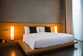 modern bed designs in wood. Simple Modern Bedroom With Wood Paneling And Platform Bed Designs In