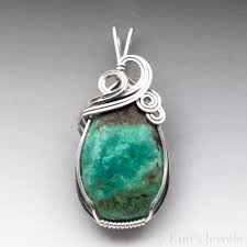 green turquoise gemstone sterling silver wire wrapped pendant kim s jewels