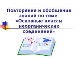 Открытый урок по химии класс ОСНОВНЫЕ КЛАССЫ НЕОРГАНИЧЕСКИХ  Повторение и обобщение знаний по теме Основные классы неорганических соединений