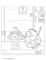 Small Picture Minions Stuart and a fire hydrant coloring page