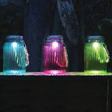 blue colour solar light jar with rope led garden outdoor lighting