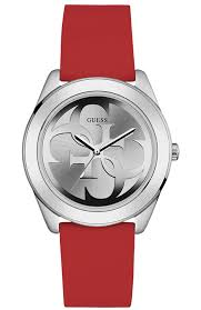 watch sizing guide add a dash of sporty style to your look wearing this guess watch round metal case with black coating adjustable red silicone