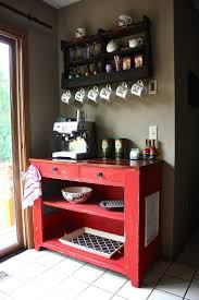 view in gallery beautiful red dresser table used for coffee station