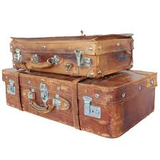 Vintage English Leather Suitcases For Sale