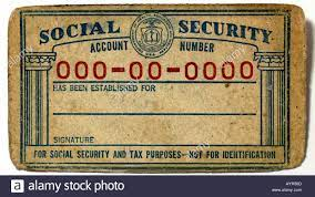 A mock Social Security card dating from ...