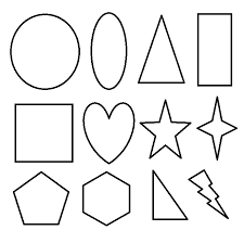 Small Picture Basic 2D Geometric Shapes to Color for Kids Free Coloring Pages
