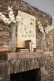 rustic stone fireplace mantel