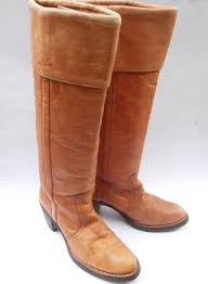 vintage erscotch las boots frye brown cuff women distress leather ochre knee high campus 4l shoe