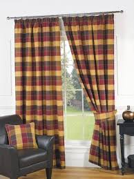 imperial check lined curtains wine