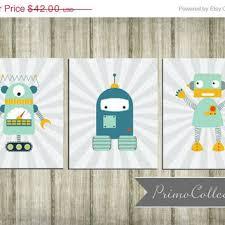 robot nursery wall art prints set of 3 8x10 inch teal gray  on robot nursery wall art with robot nursery wall art prints set of 3 from primo collection