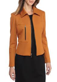 kasper solid ponte zip front jacket copper women s clothing coats jackets promo codes