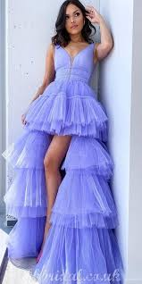 Long A-line Tulle Sleeveless High-Low Lilac Charming Prom Dress, FC4159 |  Lilac prom dresses, Backless prom dresses, Prom dresses long