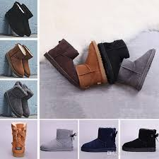 2018 bottom winter wgg leather women australia classic kneel half boots ankle boots black grey chestnut navy blue red womens girl boots black combat boots