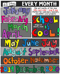 November 2020 Calendar Clip Art Get Organized With Clip Art Words For Every Month Of The