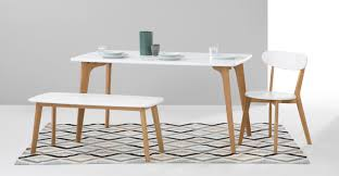 White Bench For Kitchen Table Fjord Rectangle Dining Table And Bench Set Oak And White Madecom