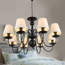 8 light black wrought iron chandelier with cloth shades dk 2016 8