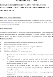 annual maintenance contract format for machine university of kalyani invitation for tender documents for