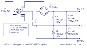 100w mosfet power amplifier circuit using irfp240 irfp9240 45 45 dual supply mosfet amplifier