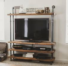 cool diy homemade industrial tv stands made from wood and pipe with rh kinggeorgehomes com tv stands for flat screens monitor stands for desk