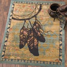 southwestern feather blue rug 2 x 3