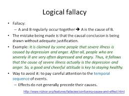 unit cause and effect essay part ii review cause and effect  logical fallacy fallacy a and b regularly occur together  a is the cause