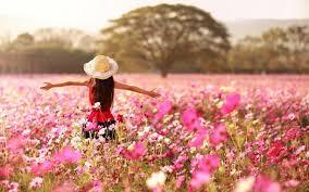 Image result for girl in flower garden