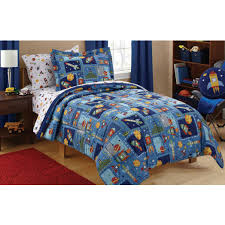 mainstays kids robots bag coordinating bedding set twin frame toddler girl children sheets full size girls