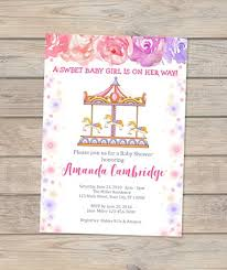 baby girl invite carousel baby shower invitation baby girl carousel baby shower invite carnival baby shower invitation floral invitation for baby girl