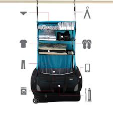 portable shelving luggage bag roller blue 1