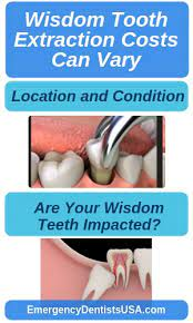 A wisdom tooth extraction cost ranges from $160 to $489 depending on how impacted your wisdom tooth is. Wisdom Teeth Removal Near Me No Insurance Extractions 24 7
