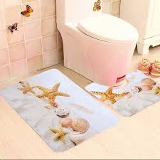 2 piece bathroom star fish and beach shells bath mat contour slip carpet pedestal rug non contour bath rug95