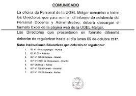 Formato De Asistencia Del Personal Comunicado A Todos Los Directores De Las Ii Ee Sobre El