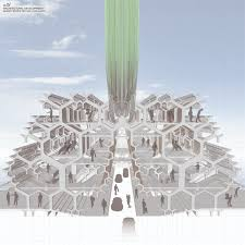 aa school of architecture projects review diploma  the predominant theme of the architecture a perspectival section into the market area the architecture also incorporates the desalination pipes