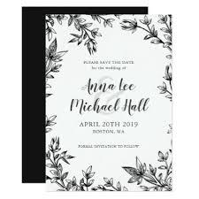 Black And White Invitation Paper Black White Leaves Custom Wedding Save The Date Zazzle