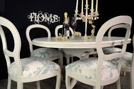 picture of french style extending dining table and 6 laura ashley upholstered chairs