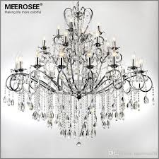 large 28 arms wrought iron chandelier crystal light fixture chrome re de sala crystal hanging lamp for living room md051 l28 lighting chandeliers 3