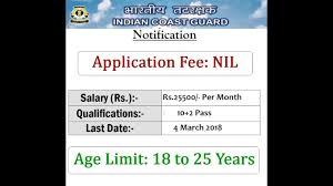 Indian Coast Guard Recruitment 2018 Store Keeper Vacancy Last
