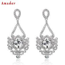 fashion white yellow color crystal wedding long earrings fl shape
