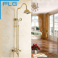 golden bathroom shower column faucet wall: wall mounted gold plate bathtub faucet double handle antique brass mixer tap bath amp shower faucets