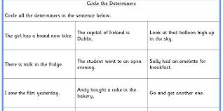 Circle the Determiners KS2 SPAG Test Practice   Classroom Secrets