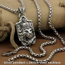 details about 925 sterling silver lion pendant sword cross mens biker punk style 9m019c