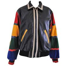1980s rare moschino jeans peace love vintage leather wool jacket for
