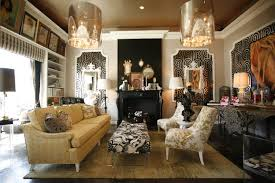 Living Room : Decorations For The Living Room Equipped With Two Classic  Glamorous Chandelier And A Long Sofa With Cushions Plus A Sofa Table And  Ornate ...