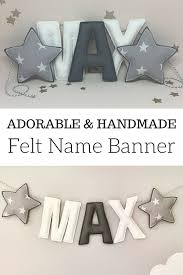personalized felt name banner grey